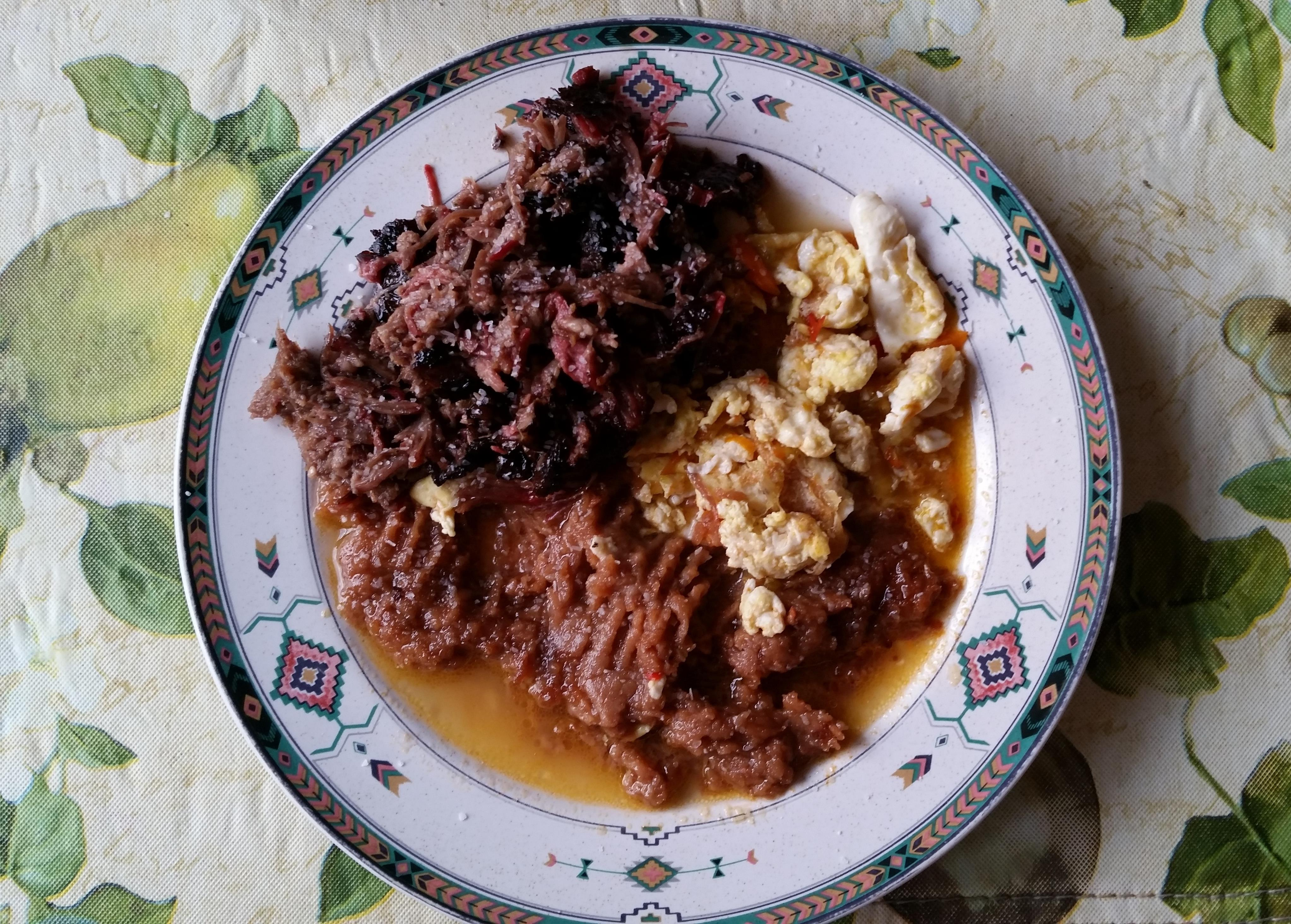 """Smokey-Barbacoa-Delight!""""-Barbacoa-re fried-beans-eggs-with Chile ..."""
